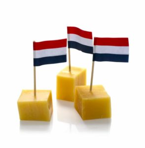 Cheese cubes with Dutch flag