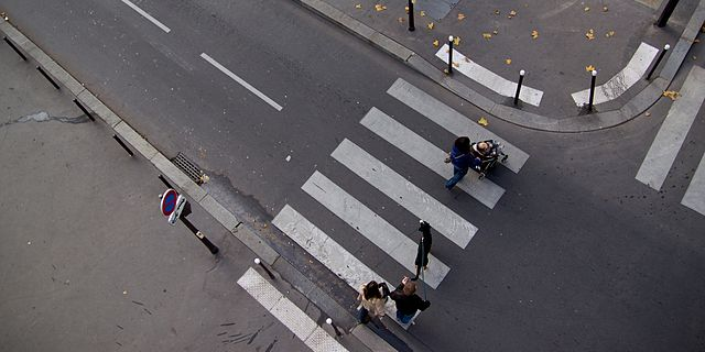 A pedestrian crossing in Amsterdam where Domino's pizza delivery riders often fail to stop