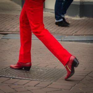 red Dutch pants