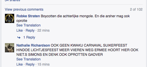 offensive racist comments on Facebook about people that object to zwarte piet