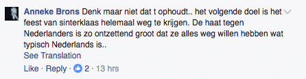 whining reaction on Facebook criticising RTL stopping with the blackface Zwarte Piet