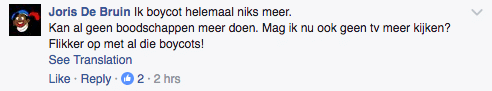 Facebook comment about boycotting RTL due to Zwarte Piet