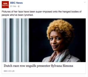 Sylvana Simons featured on the BBC News website due to Dutch race row
