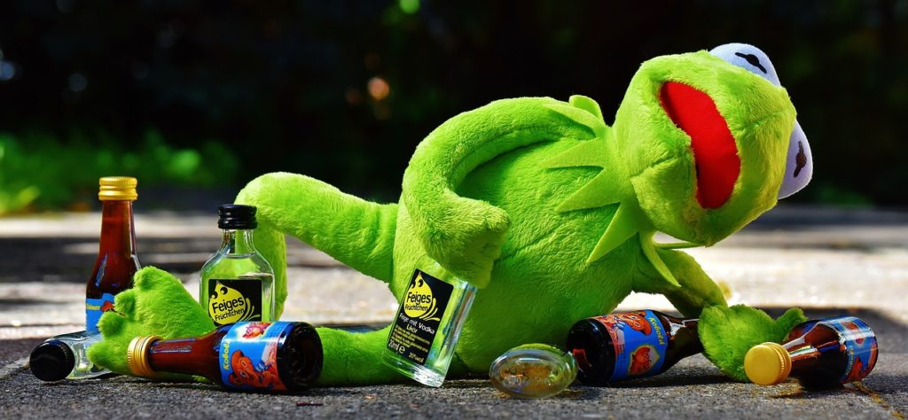 working with the British drunken kermit the frog