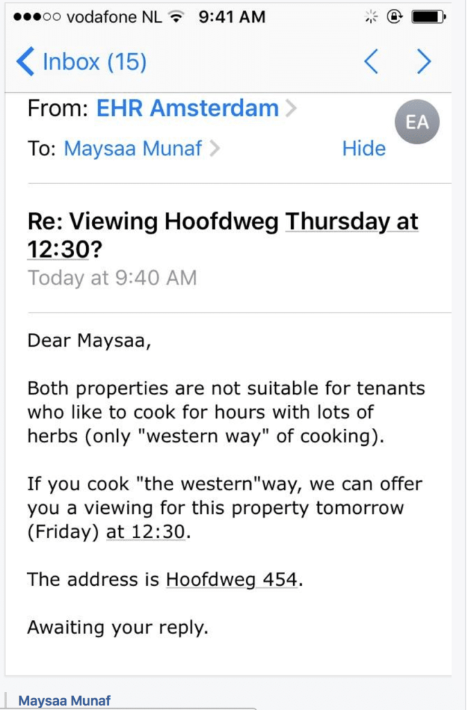 Rental apartments in Amsterdam sometimes require western way of cooking only