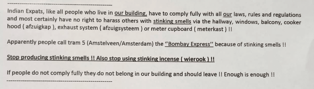 Indian Expat in Amstelveen hate message