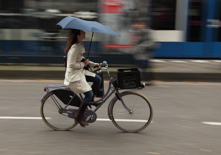Cycling in the Rain during a code red alert in Amsterdam
