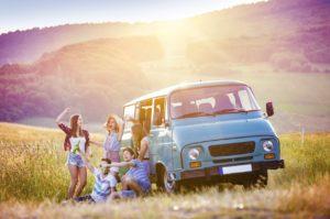 Caravan road trip with hipsters
