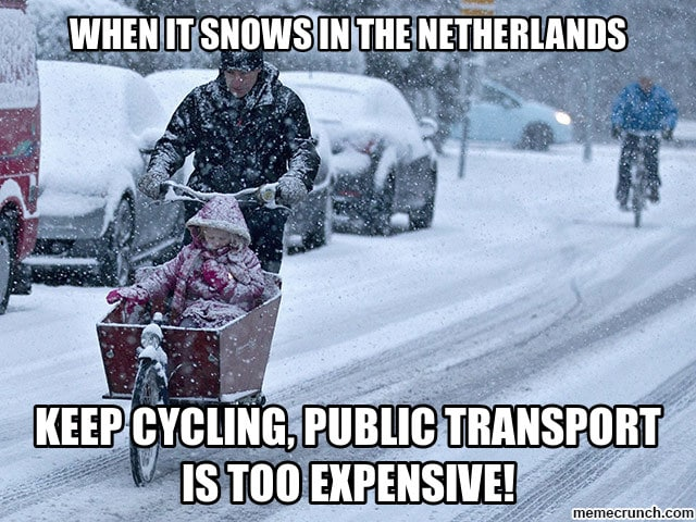 cycle in the snow