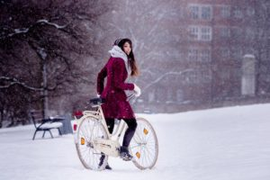 beautiful girl on snow