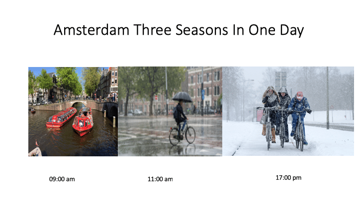 three seasons in one day in Amsterdam