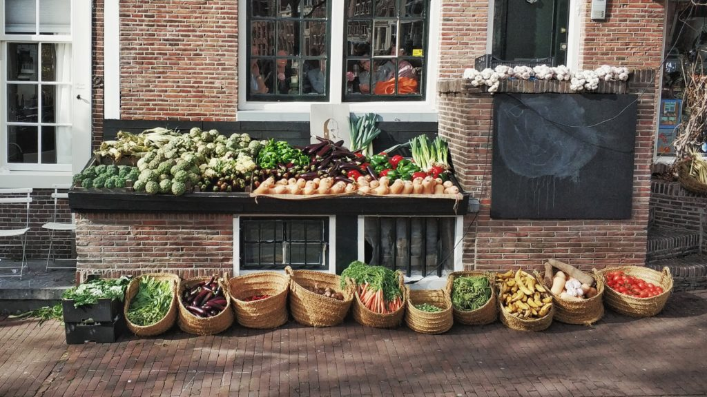 Vegetables outside a grocer in amsterdam