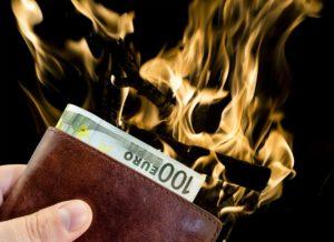 burning wallet