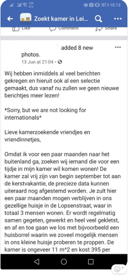 xenophobia in a room rental ad