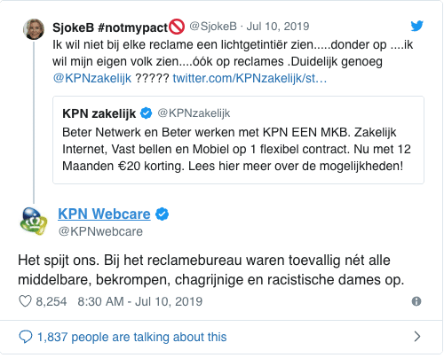 KPN responding to racist tweet in a typically Dutch direct way