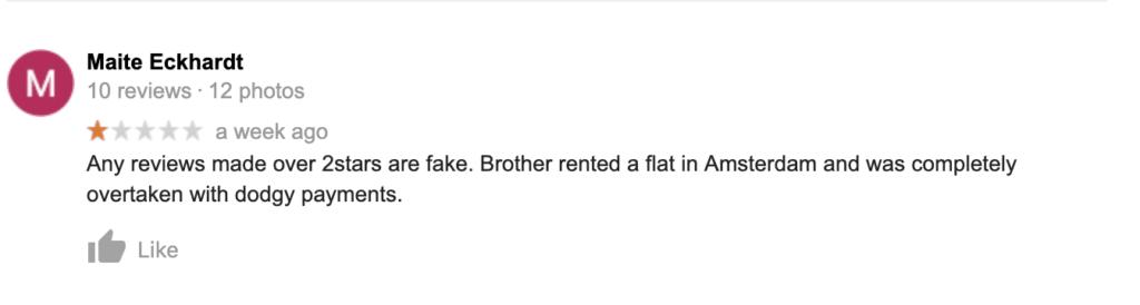 Google review of Millionaire Makelaar