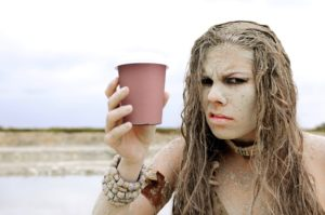Cave woman and coffee