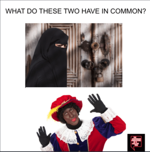 Image comparing the Dutch Burka ban with Zwarte Piet appearance