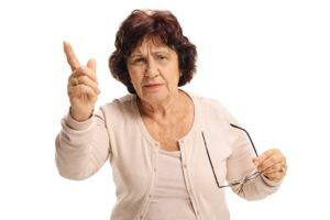 elderly lady complaining