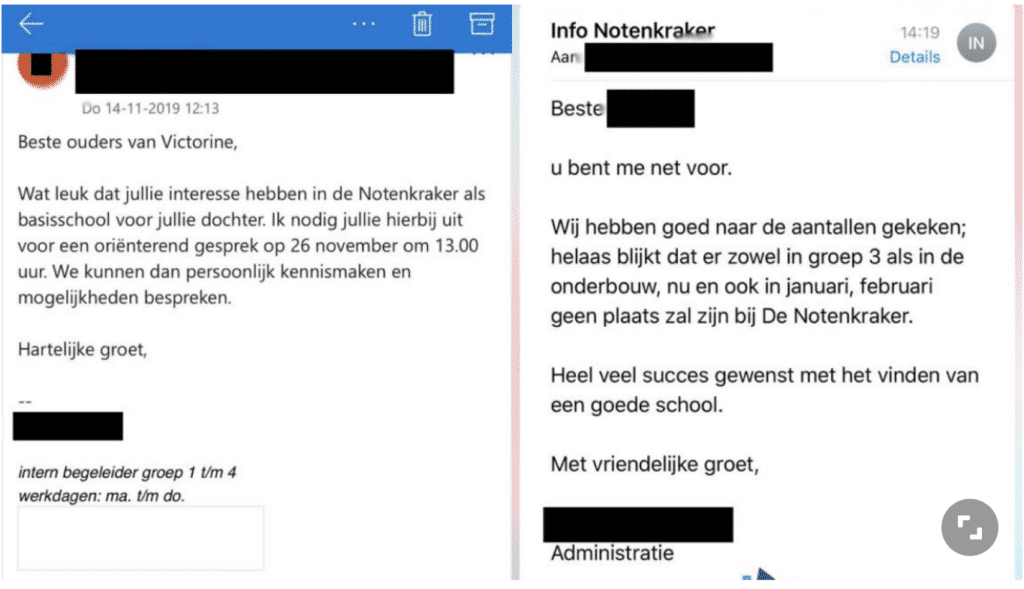 emails that show discrimination against a Moroccan woman applying for a school place in Amsterdam