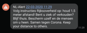 NL emergency alert coronavirus