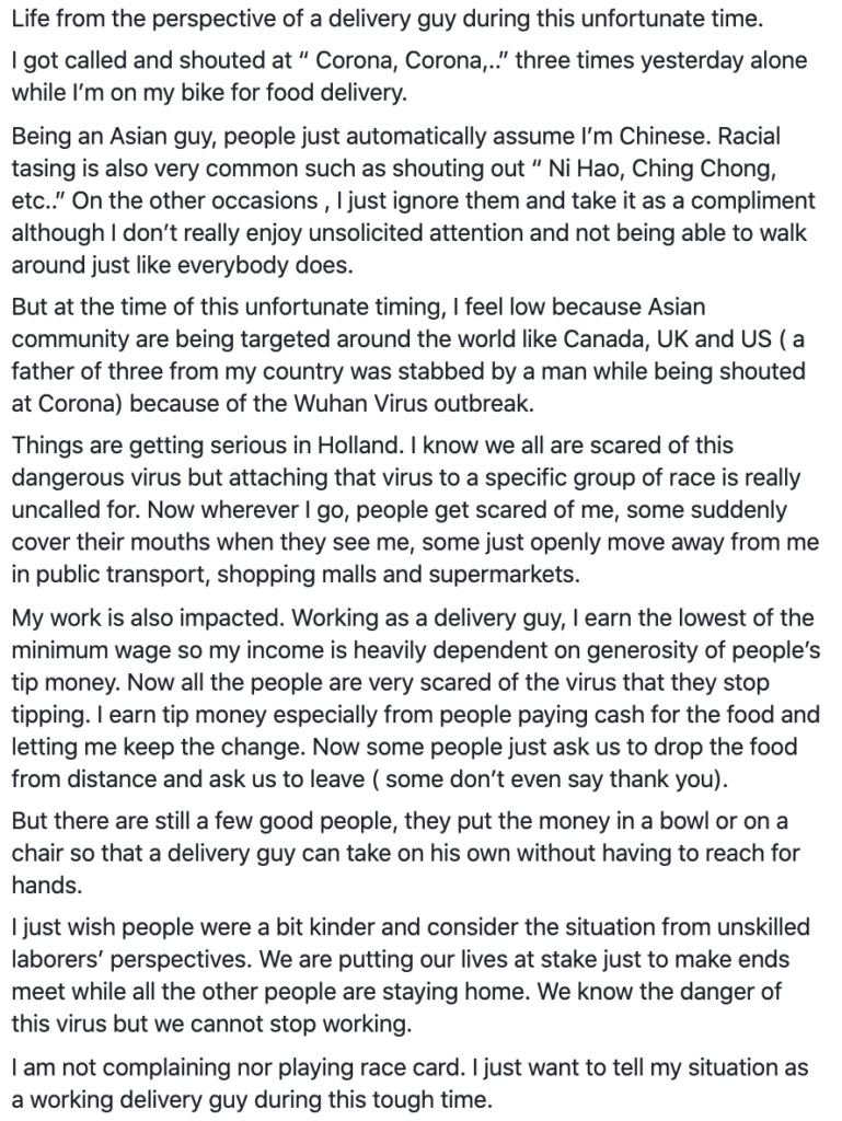 racism against asian delivery driver