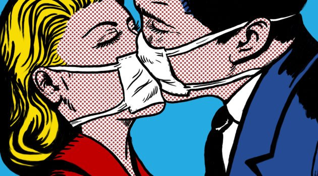 the wearing of face masks to be compulsory in the Netherlands cartoon couple kissing