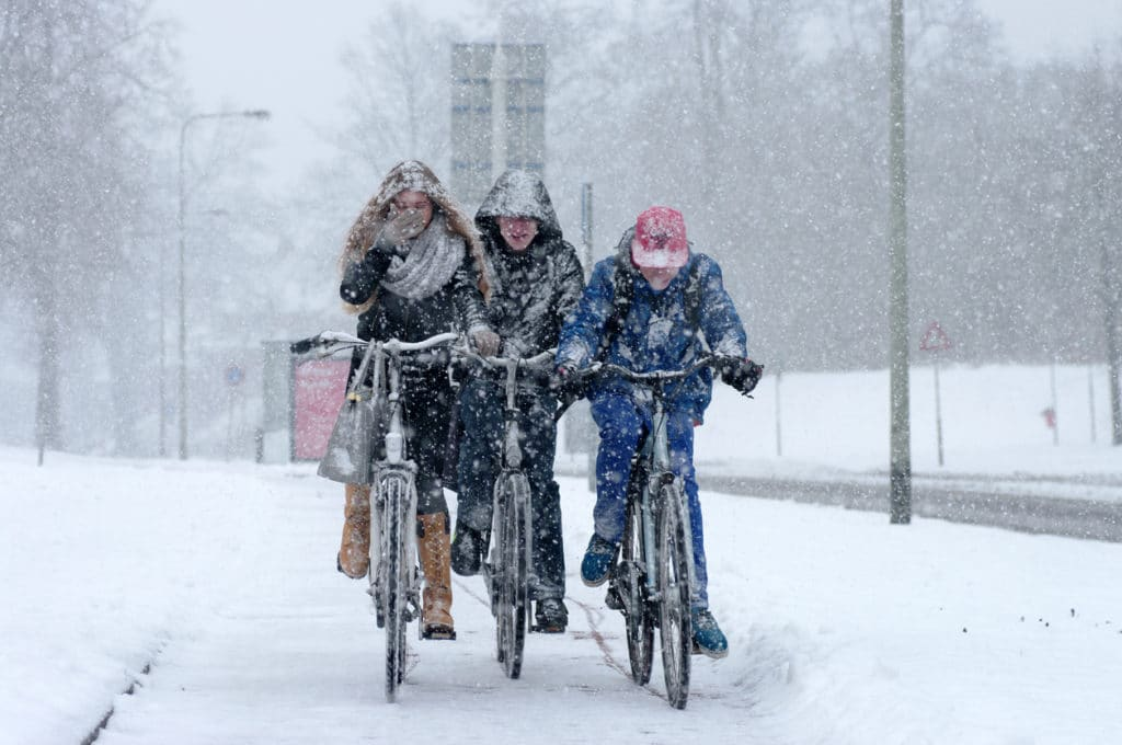 people cycling in the snow